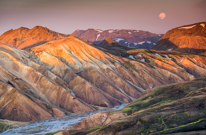 Super Moon Rising at Landmannalaugar Iceland