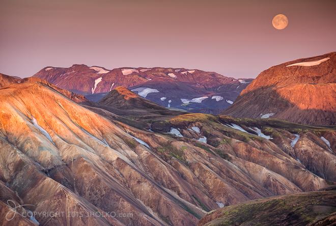 Super Moon Rising at Landmannalaugar #2 Iceland